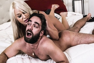 Frustrated lady dominates lover in a role play sex