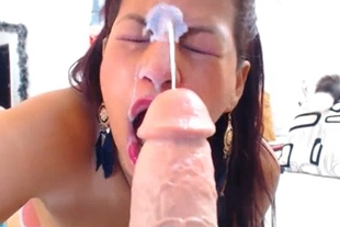 Big and Hot Latina Cam Girl Squirting Dildo in Cunt
