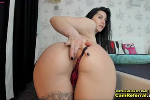 Sexy Brunette With Panties Fingers Her Anus Readying Fo