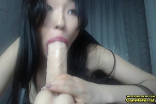 Hot Asian Chick Kills A Big Rubber Cock On Cam