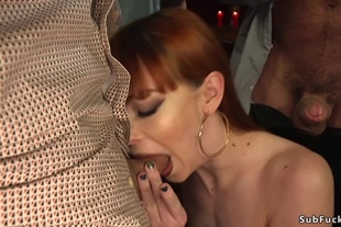 Redhead in stockings is dp banged