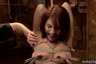 Redhead sub in pink hot pants on hogtie