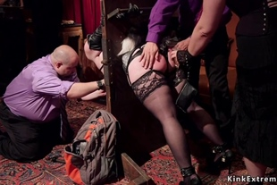 Bound sluts are anal fucked in party