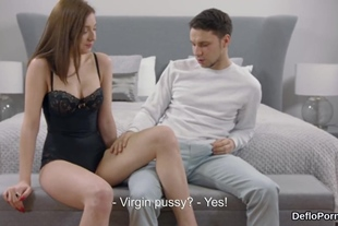 Cute nympho gapes narrow pussy and gets deflowered