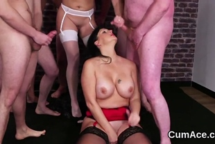 Peculiar stunner gets jizz load on her face eating all
