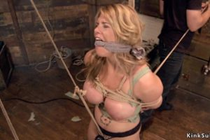 1121473 Huge Tits Blonde In Hogtie Suspension
