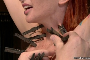 Redhead slave gets ass whipped in device