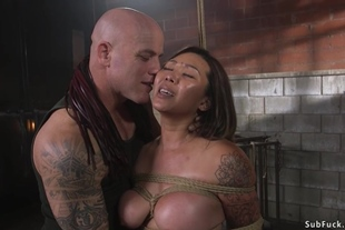 Busty Asian slave doggy style fucked