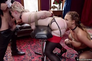 Anal slave queens banged in threesome
