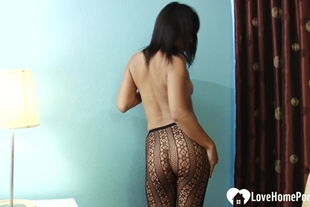Asian stepmom knows how to tease in pantyhose