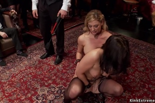 Slaves are fucked and made licking
