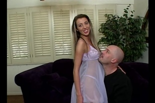 Girl sucks cock and gets ass fucked with two guys