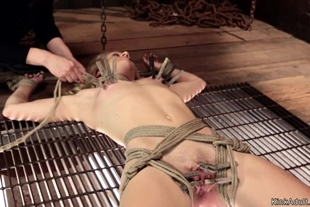 Gagged and tied blonde in lezdom