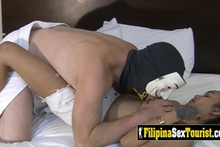 Blonde Filipina is sitting on a big cock