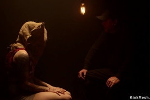 Blindfolded slave bound in doggy style