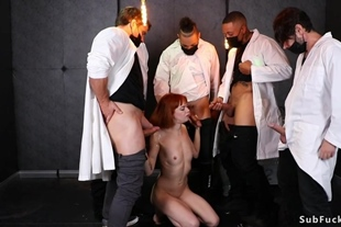 Tied redhead double penetration banged
