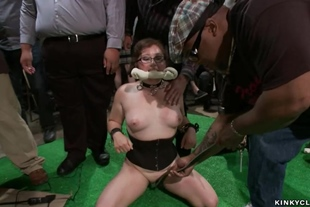 Chubby slave is rough public banged