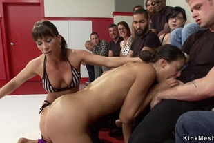 Wrestler babe is made to public fuck
