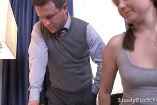 Brunette thanks her tutor by sucking his big cock