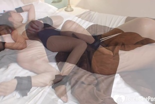Tickling my girlfriend that is bound in rope