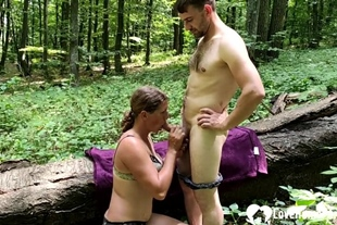 Brunette gets a big cock in the woods