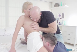 Babe and her boyfriend have fun with a petite stud