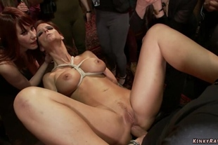 Bound sluts anal fucked at public party