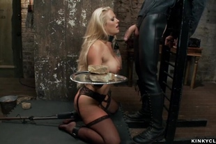 Huge dick up bound blondes ass