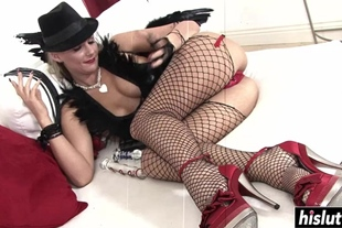 Girl in stockings pleases a dick