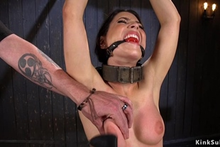Immobilized brunette tits clamped