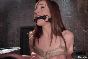 Tied up slave pussy fucked balls deep