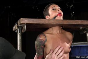 615204 Strapped To Wooden Device Ebony Punished