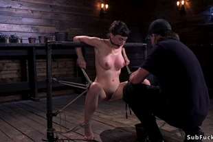 Hairy babe in strict hogtie clit vibrated