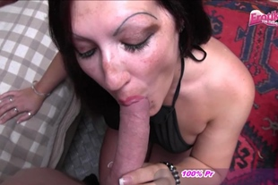 German brunette young housewife try porn
