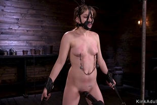 Shackled brunette in doggy pussy toyed