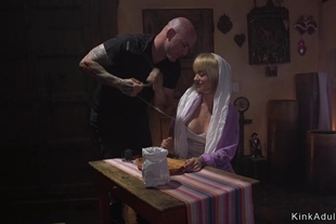Master whips and fucks tied up alt blonde