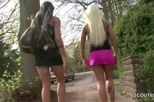 Two German Lesbian Teens Lick Outside and Caught by Pol