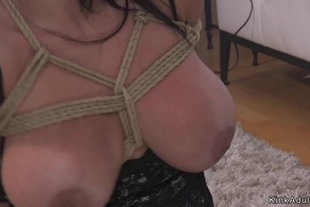 Huge tits brunette submits to mob boss