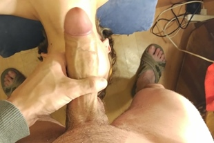 Deepthroat with Bulge and Cumload in a Mouth for my Fuc