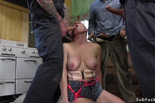 Natural busty shaved headed blonde orgy