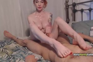 749887 Tattooed Redhead Performs An Awesome Handjob