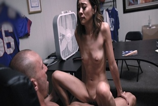 Asian brunette squeals as she rides