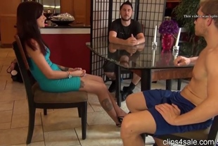 Maria Under Table Nylon Footjob in Front of Husband