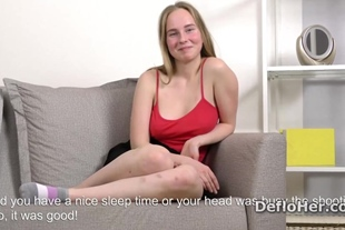 Cute blonde Lisa Tutoha shows her natural tits and ass