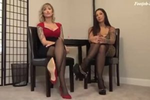 797245 Stefania And Reagan Perfect Double Pantyhose Footjob