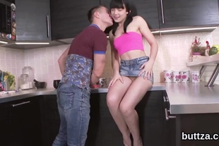 Charming half-naked tight cutie gets banged in stretche