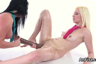 Hot lesbo stunners are fisting wet pussies and butt hol