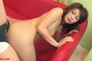 Japanese Beauty Strokes His Cock