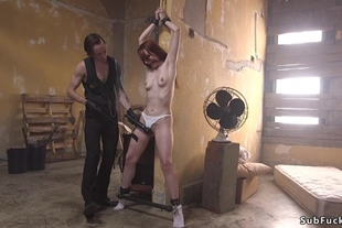 Redhead slave gets huge dick up her ass