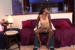 Black babe was sucking cock as deep as she could, befor